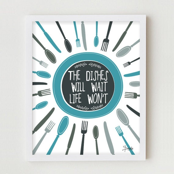 Kitchen Art Print, Kitchen Wall Decor Digital Print, BLUE Typography Kitchen Quote Wall Art, Quote & Digital Illustration for Kitchen