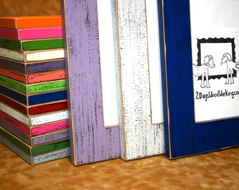 """6x8 picture frame, Colored photo frame, Weathered picture frame, Chunky 2.5"""" shabby distressed frame, colorful 6x8 frame"""