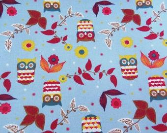 2622C -- Cute Owl and Pretty Flower in Blue , Bird Fabric, Owl Fabric