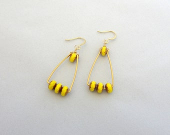 Yellow & Gold Glass Bead Earrings