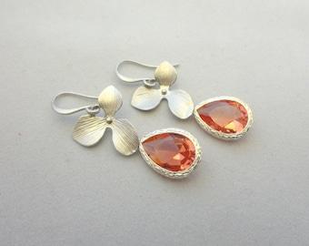 Pink Glass Flower Earrings