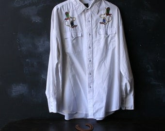 Vintage Western Shirt White Cowboy Wedding With Embroidery of Boots and Lasso Shirt For Wedding Parade and Rodeo From Nowvintage on Etsy