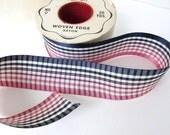 Vintage Ribbon Taffeta Rayon Checked Pink Navy Blue Striped Woven Sewing Trim 1 5/8 inch rib0204 (1 yard)