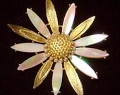 Vintage signed Mandle flower brooch pin MOP petals