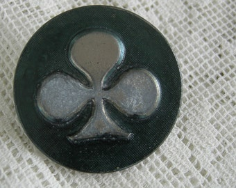 Large Vintage Button - Ace Of Clubs Button - Large Vintage Shank Back Button - 1 3/8ths Coat Button