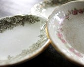 Pretty Pats - Antique Butter Pat Dishes - Knowles and Taylor - Antique - Floral - Flowers - Pink - Green - Ceramic - Ring Dish - Home Decor