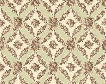 SALE Mary Rose Amelia Sage diamond floral print 1 yard