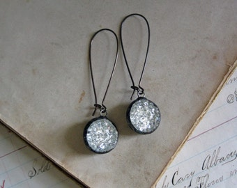 Sparkle Glass Button Earrings Upcycled Jewelry Long Arched Earwires Shine on