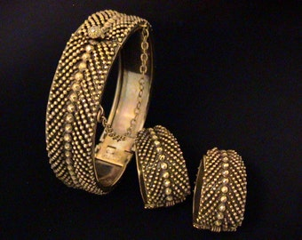 Vintage SANDOR Hinged Bangle Bracelet & Earrings Set