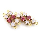 4 - Triple Rhinestone Charms Connectors with Swarovski Crystal Set Stones - Rose Water Opal & Rose Pink