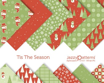 Christmas digital paper pack Tis the Season DP013 instant download