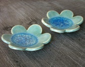 Pair of Small Ceramic & Glass Flower Dish, Blue