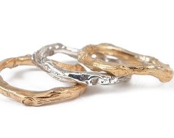 Gold Band, Tree Branch, Nature Inspired Ring, Wedding Band, Man Wedding Band, 14K Solid Gold Band.