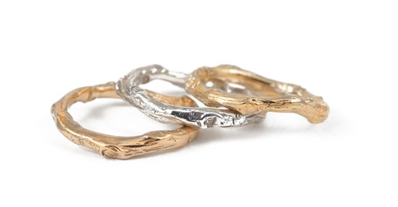 gold band tree branch nature inspired ring wedding band
