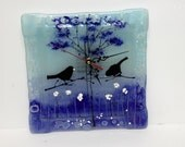 Wall Clock, Fused glass art wall hanging  blue tons painted Wall clock