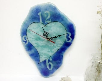 Blue Heart  Fused glass Wall Clock - blue tons painted Wall clock  .