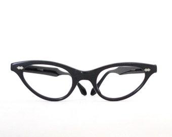 French Cat Eye Glasses Frame France Never Used 46mm lens 22mm bridge 5.5 Inch 50s 60s Rockabilly Cateyes NOS Black Eyeglass Sunglasses sale