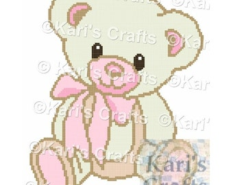 Pink and Off White Teddy Bear Afghan Baby Blanket PDF Pattern GRAPH ONLY - Instant Download