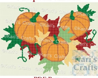 Pumpkins and Autumn Leaves Afghan Blanket PDF Pattern GRAPH ONLY - Instant Download