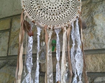 Handmade vintage doily dreamcatcher crystal suncatchers river glass skeleton key beads feathers leather and lace scraps all upcycled