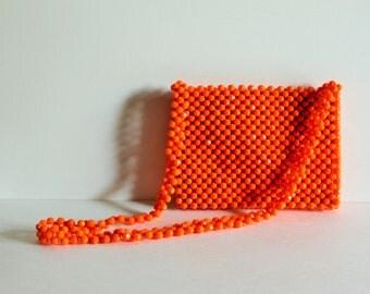 VINTAGE beaded orange PURSE