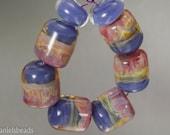 Boro beads ,(qty 8) Lampwork Glass Bead Set , Barrel beads, Periwinkle and pink blush beads  SRA Artisan beads ---  #199