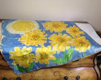 Vintage Scarf CHEERY YELLOW FLOWERS With Sun Vera Neumann Ladybug Silk Fashion 1960s Blue White watercolor