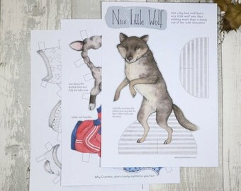 Wolf paper doll - instant download PDF - fairy tale paper doll activity - wolf illustration