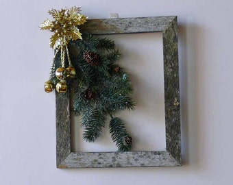 Golden Bells and Spruce Branches Weathered Barn Wood Wall Hanging Wreath