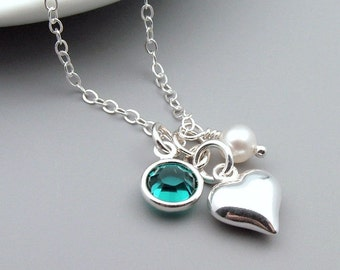 Silver Heart Necklace, Birthstone and Pearl, choose your birthstone crystal, sterling silver, birthday gift,