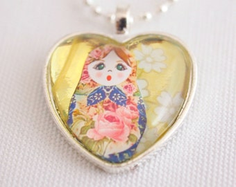 matryoshka doll necklace, heart shaped necklace, Russian nesting doll necklace, kawaii doll jewelry