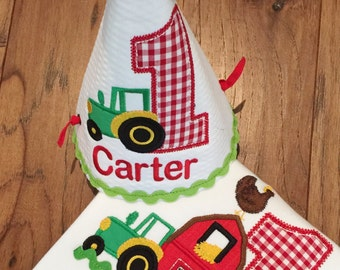 Farm Themed Birthday Set Includes Tee and Hat