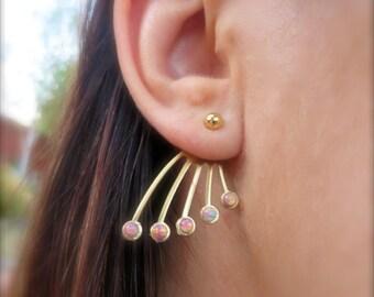 Pink Opal Brass Decorative Ear Jackets Earring Stud Post Gold Bar Drop Split Front Back In Out Jewelry