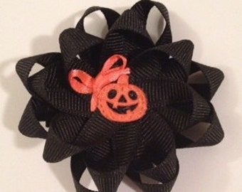 Black Ribbon Flower Hair Bow with Pumpkin Jack o'lantern center HALLOWEEN October