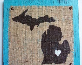 MICHIGAN BURLAP SIgn, Hanging Distressed Michigan Sign Painted, Distressed Burlap Michigan Sign, Burlap Hanging Sign, Michigan, MI, Michigan