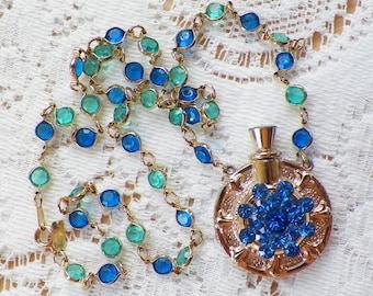 Vintage Jewelry Assembly, Vintage Small Gold Tone Perfume Bottle / Blue Rhinestone Jewelry Embellished, Blue / Green Bezel Set Necklace OOAK