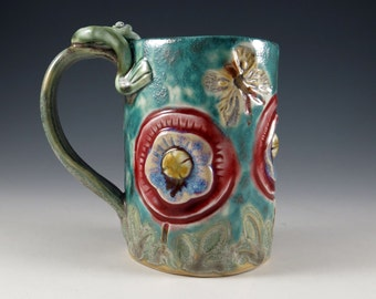 Turquoise Handmade Pottery Tea Cup - Coffee Cup - Country Flower and Frog Ceramic Porcelain Mug - 396
