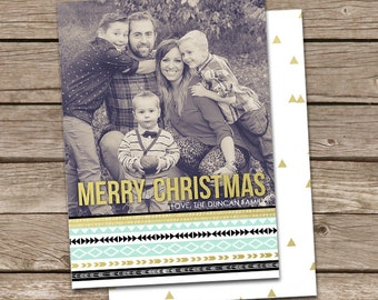 Photo Christmas Card Template: Aztec Tribal Merry Christmas Custom Photo Holiday Card Printable