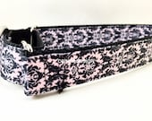 Dog Collar, Pink Damask, 1 inch wide, adjustable, quick release, metal buckle, chain, martingale, hybrid, nylon