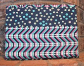 Navy, Teal and PinkTract and Magazine Bag, Tablet Sleeve