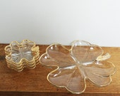 Four Leaf Clover nut and candy serving set, vintage gold trimmed clover glass dishes, St Patrick's day party peanuts dish set, 5 piece set