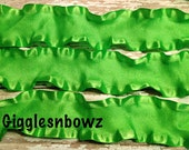 1.5 inch DOUBLE RUFFLE Satin Ribbon- Bright Lime Green 5 YaRDS Great for Hair bows Scrapbooking Crafts