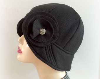 Black Fleece Cloche - 1920s Winter Cloche - Downton Style Cloche - Flapper Cloche - Black Flapper Hat - Womens Fleece Cloche - Black Cloche