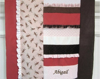 Sock Monkey Blanket, pink girl personalized minky ruffle patch quilt - embroidered child name, white, brown, baby girl crib blanket, mode