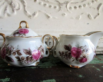 Vintage Sugar Creamer Set white Porcelain Pink Shabby Roses