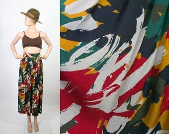 Vintage Silk Skirt / High Waisted / Pleated A-line / Graphic Print / Midi Skirt / Small