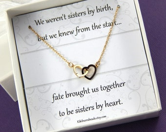 Friendship Necklace Best Friends Interlocking Heart Necklace Sisters Necklace Best friend Gift