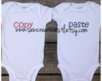 Copy and Paste Twin Onesie Bodysuit Matching Set