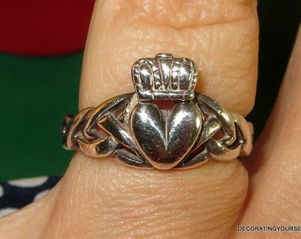 Made Ireland Sterling Silver Irish Claddagh Ring Size 6  Love Friendship Marriage Loyalty