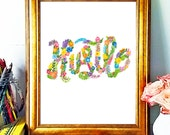 Hustle Poster, Hand Lettering, Hustle Print, Floral, Colorful Wall Art, Workspace Art, Motivational Poster, Inspiration